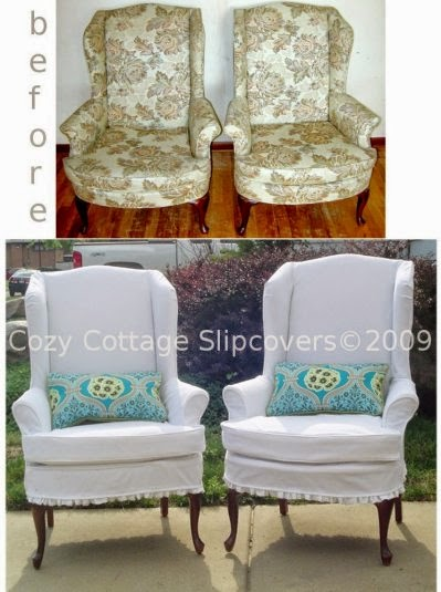 wing chair slipcovers before and af
