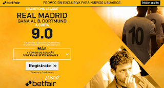 betfair supercuota 9 Real Madrid gana B. Dortmund champions 27 septiembre
