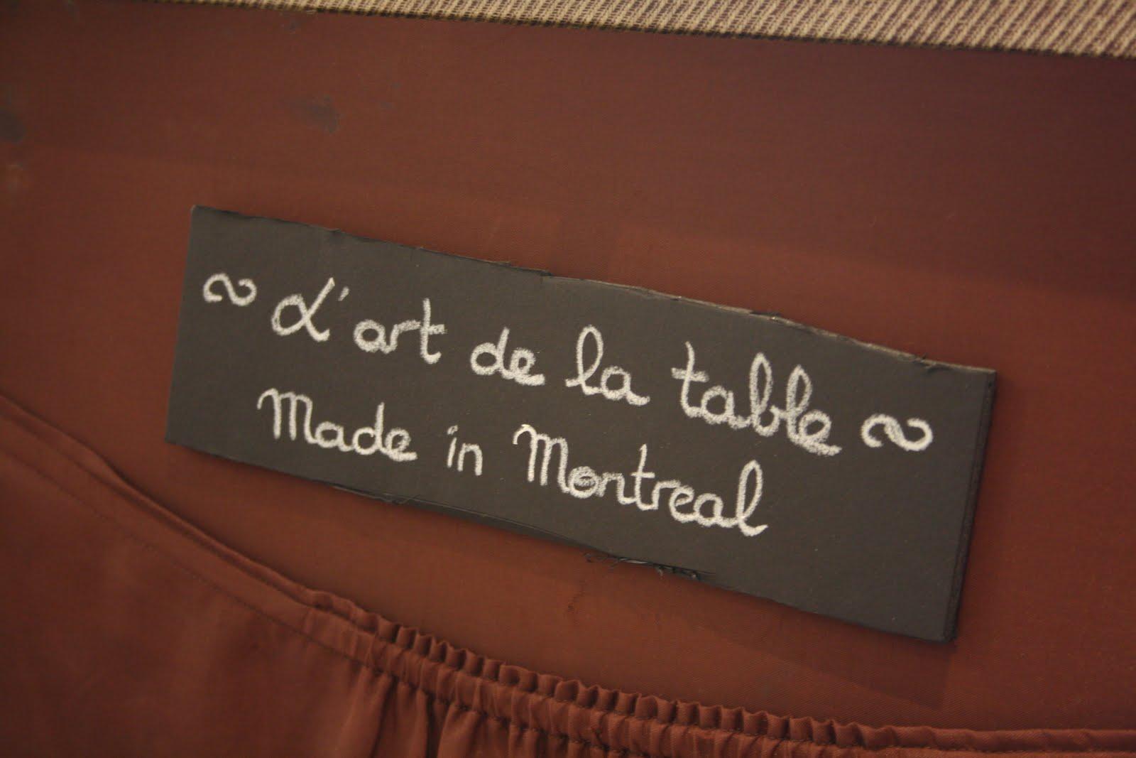 Linge De Maison Montréal zone orange: l'art de la table made in montréal avec ''anita''