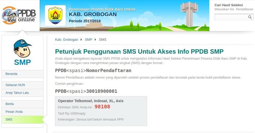 Cara Melihat Pengumuman Ppdb Online Melalui Sms Komunitas Smk Kabupaten Grobogan