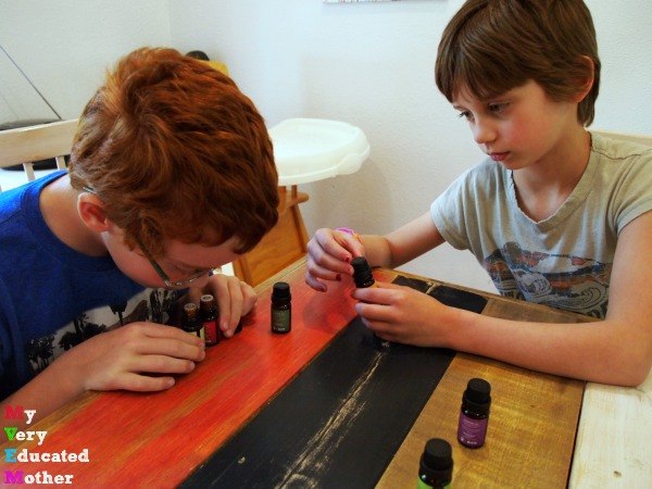 Father's Day Gift Idea DIY Beard Oil, thankfully the kids worked at finding the right scent.