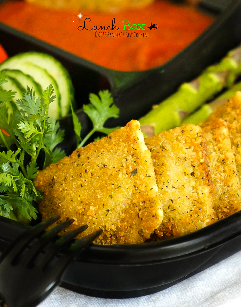 Work or School lunch idea menu for Breaded Baked Ravioli with marinara sauce
