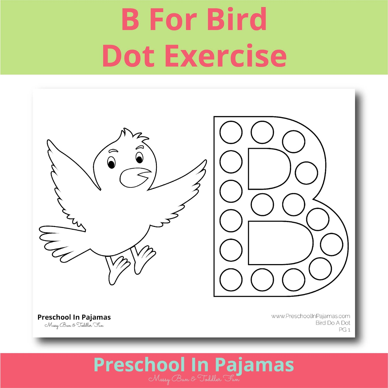 Free B Is For Bird Dot Exercise Printable