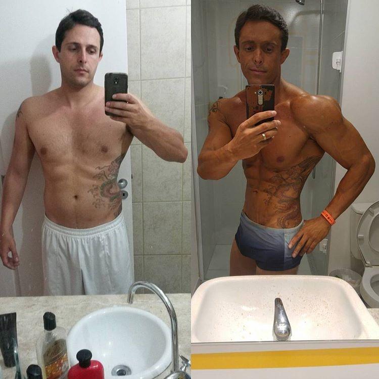 Rodrigo Varanda mostra antes e depois de iniciar a carreira no fisiculturismo. Foto: Arquivo pessoal
