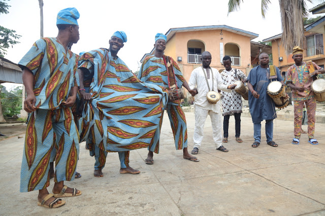 three sets of Yoruba drums