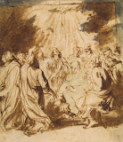 Descent of the Holy Spirit by Anthony van Dyck - Christianity, Religious Drawings from Hermitage Museum