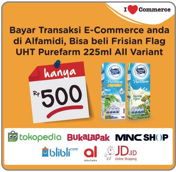 Alfamidi - Promo Bayar Ecommerce Tebus UHT Purefarm 225 ml Cuma 500 Rupiah