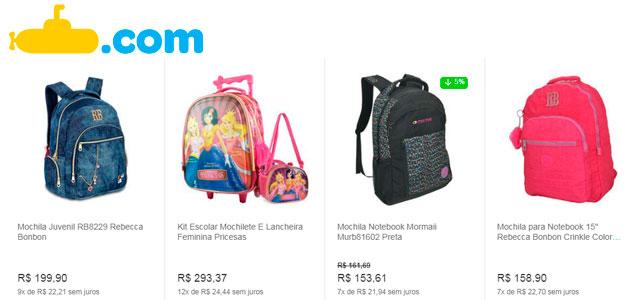 mochilas escolares no submarino