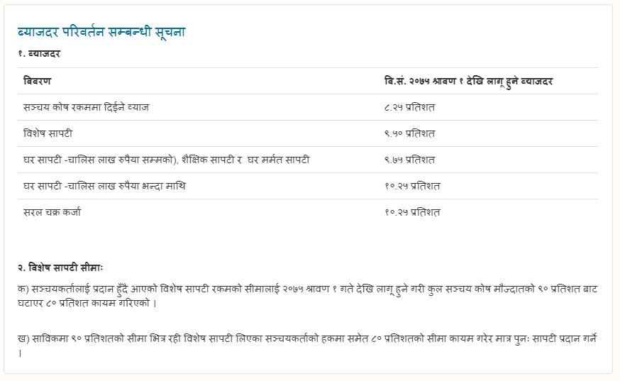 New Interest Rate Karmachari Sanchaya Kosh