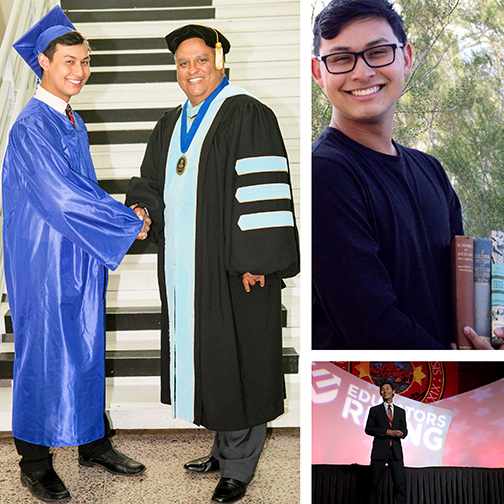 compilation of images of Richard with President Chris Bustamante at 2017 graduation, in a field holding books smiling at camera and on state at Educator Rising meeting