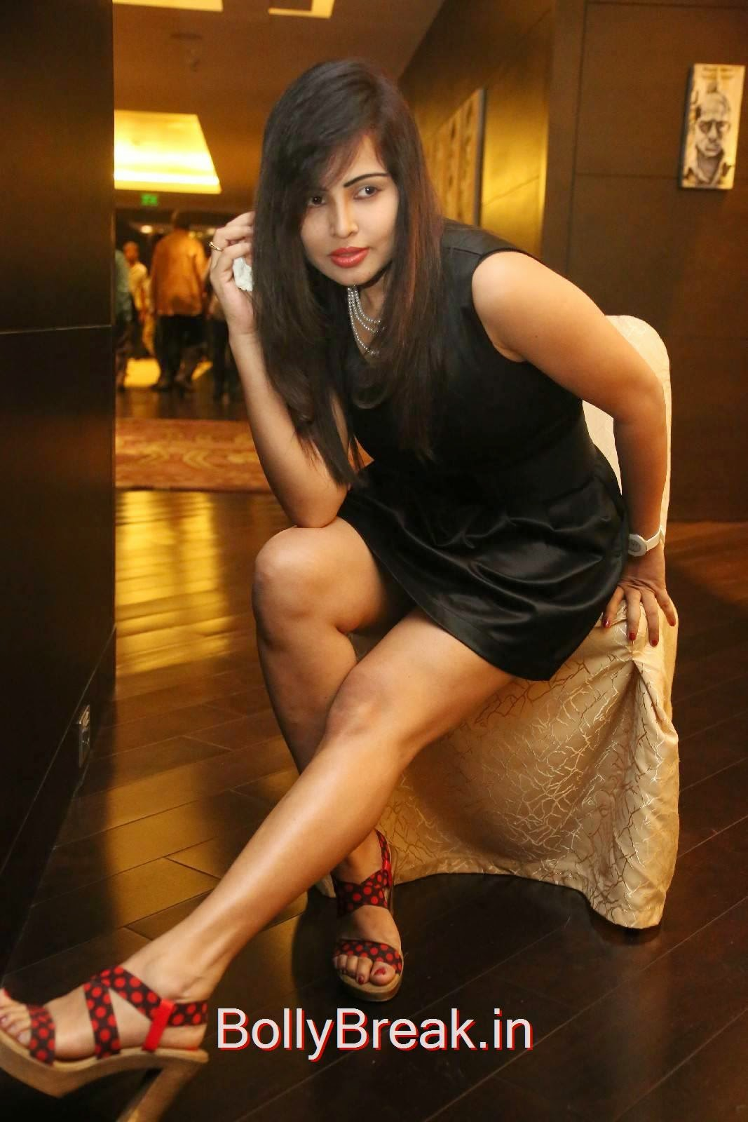 Hashika Dutt Pics, Hashika Dutt Hot Pics In Black Dress from Player Trailer Launch