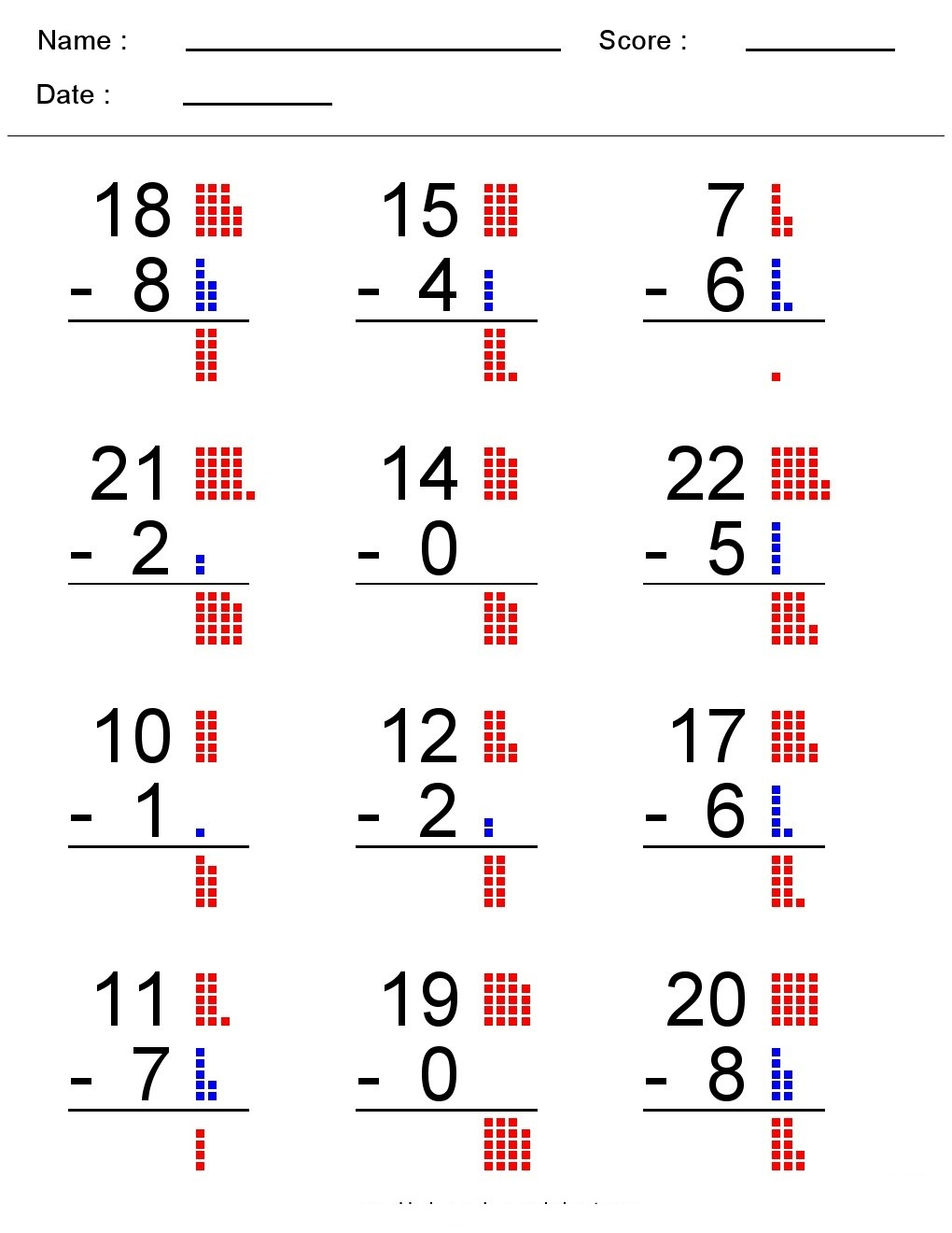 small resolution of Kindergarten Worksheets: Maths Worksheets - Subtraction worksheets
