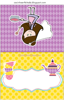 Bride Cooking in Yellow and Purpl Free Printable Labels.