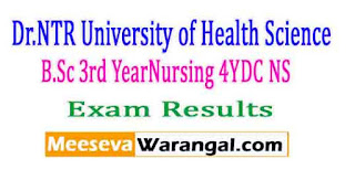 Dr.NTR University of Health Science B.Sc 3rd Year(Nursing) 4YDC (NS) Nov 2016 Exam Results
