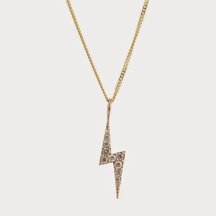 This Zoe and Morgan Zap necklace is also very delicate and has the popular lightning and pave diamonds. It's made of 9 karat gold with beautiful white diamonds which is makes an excellent gift.