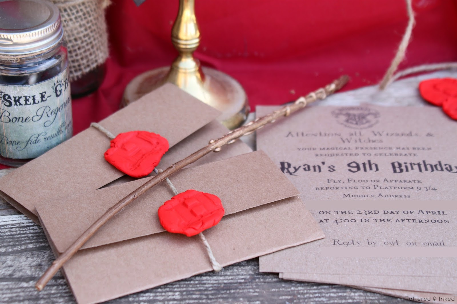 """Tattered and Inked: DIY """"Wax-Sealed"""" Harry Potter Invitations"""
