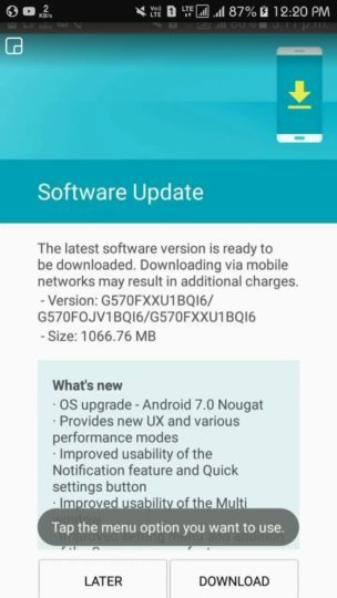 Android 7.0 Nougat update for Samsung Galaxy J5 Prime