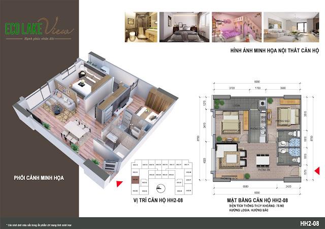 Thiết kế căn hộ B2B - 08 tòa HH2 Eco Lake View