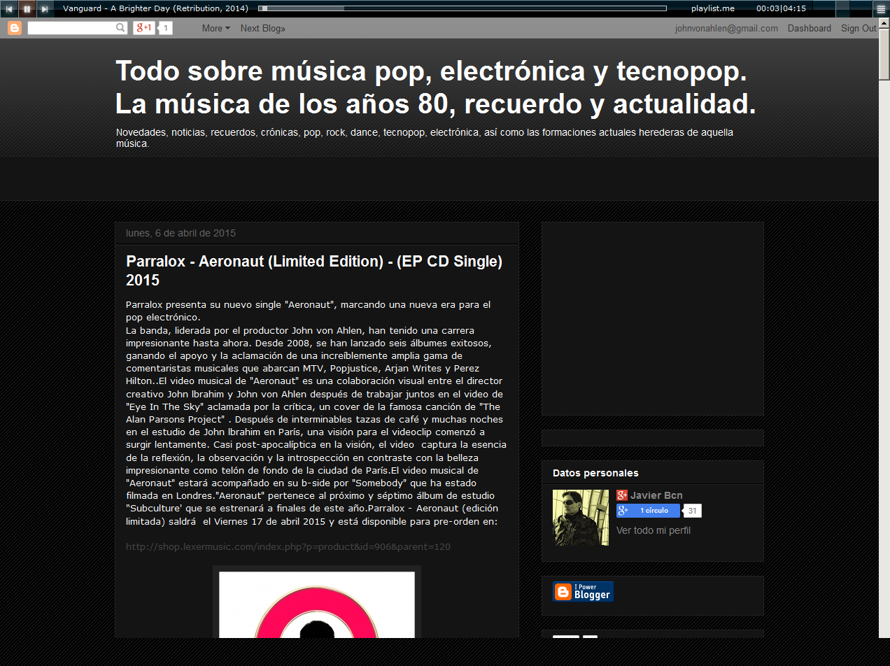 Javierelectro (Spain) reviews Aeronaut