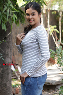 Tamil Actress Chandini Tamilarasan Latest Pos in Ripped Jeansat Ennodu Vilayadu Press Meet  0044.jpg