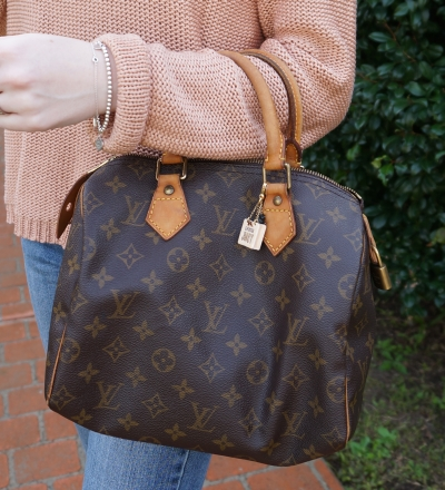 Away From the Blue vintage LV mono speedy 25 bag worn on arm