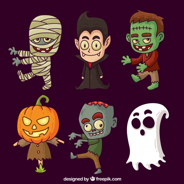 Halloween characters collection Free Vector