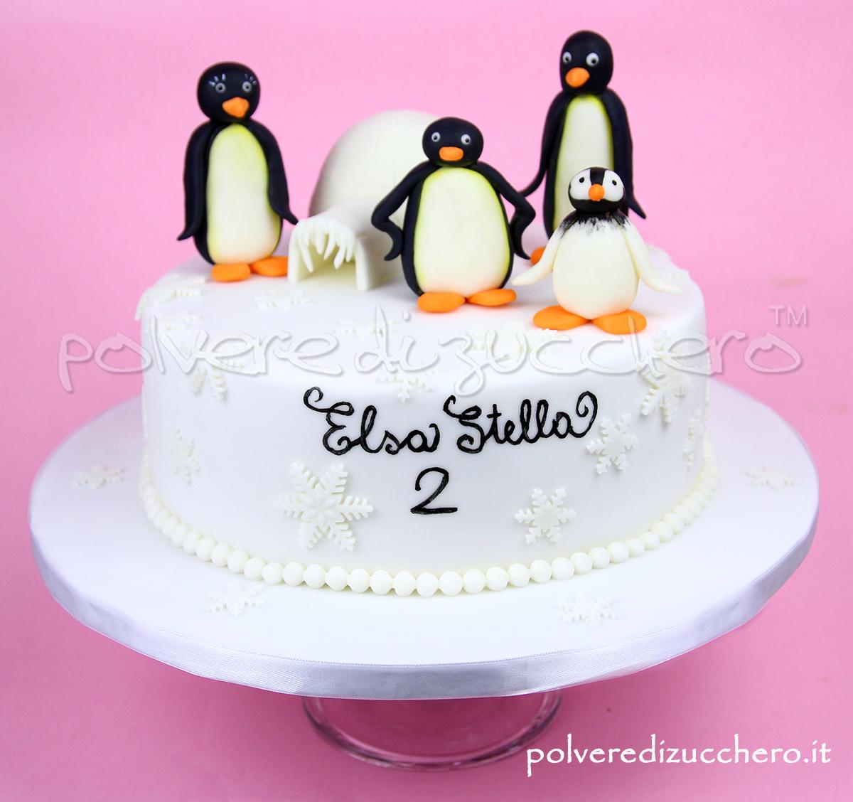 torta decorata cake design pasta di zucchero compleanno bimba pingu modelling polvere di zucchero