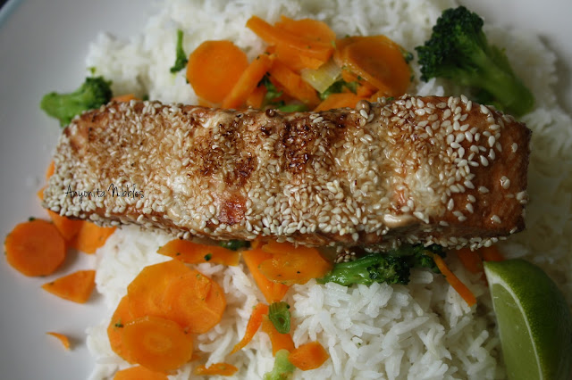 Sesame salmon on a bed of basmati rice served with lime broccoli and carrots from www.anyonita-nibbles.com