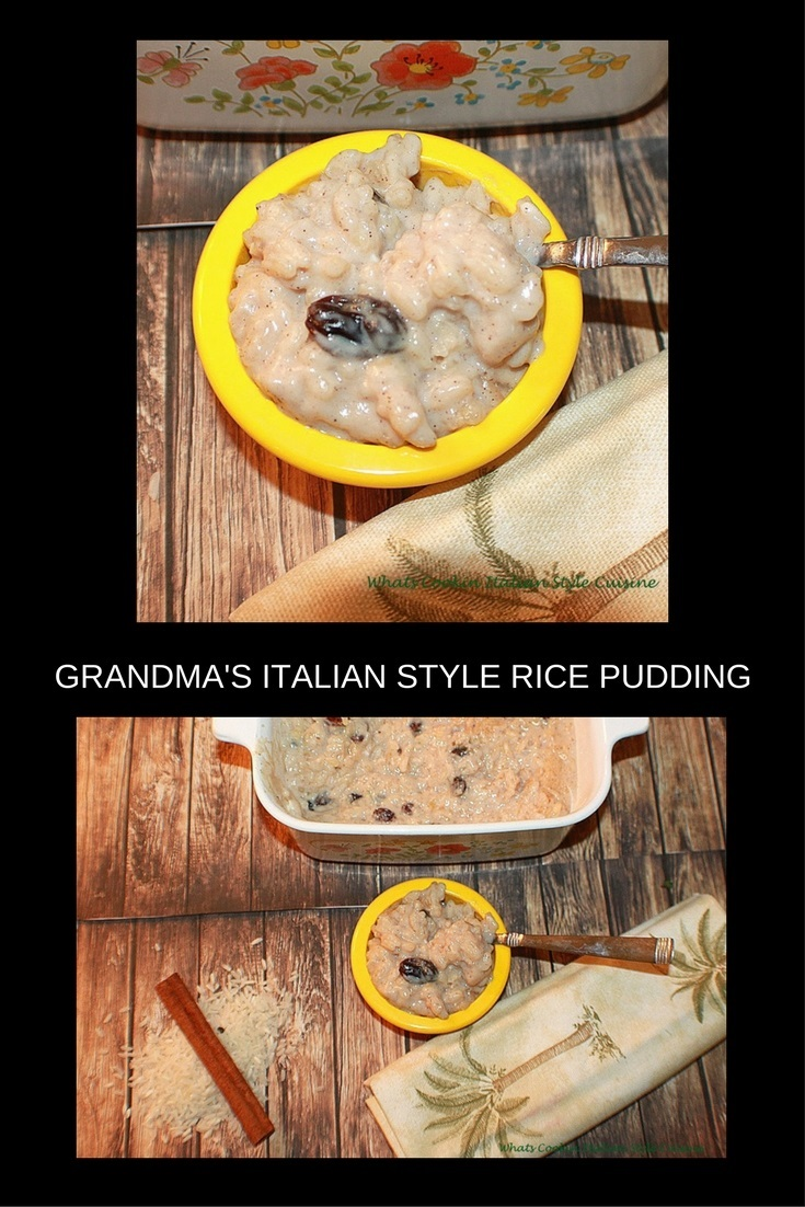 Grandma's Italian Style Rice Pudding is the most comforting food I remember by here. She always made recipes that are etched in my mind in flavor but this rice pudding is the most comforting I remember fondly of all the desserts she cooked to perfection. It's a great delicious custard with rice dessert with a hint of cinnamon.