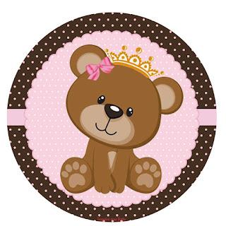 Toppers o Etiquetas de Osita Princesa para imprimir gratis.