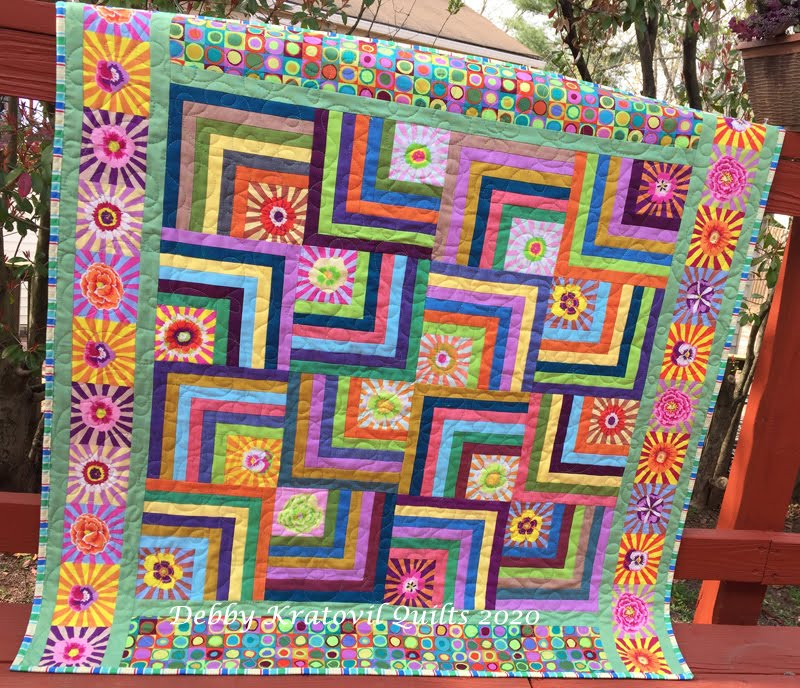 Sunburst Off Center Log Cabin Quilt