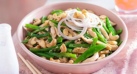 Warm Snow Pea & Chicken Salad , weight watchers recipes , 6 smart points