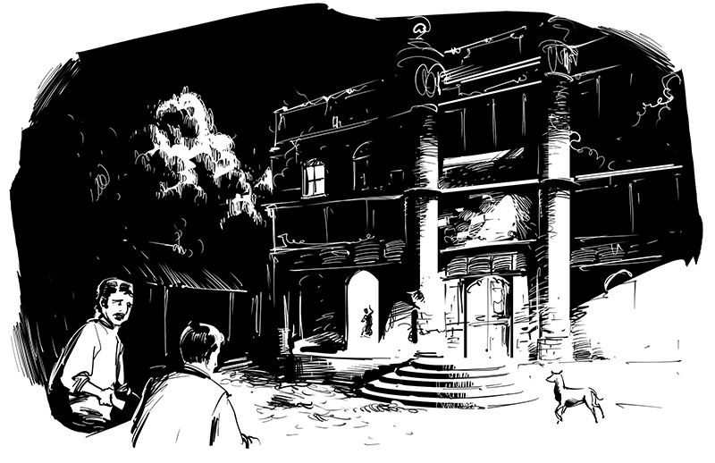 horror men in front of a ghostly manor black and white sketch illustration