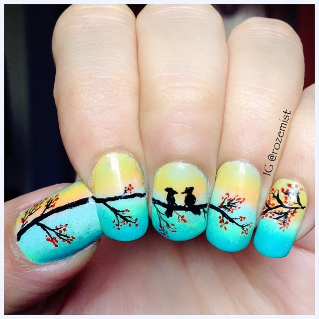 Nail arts by Rozemist: Love Birds Gradient Nails