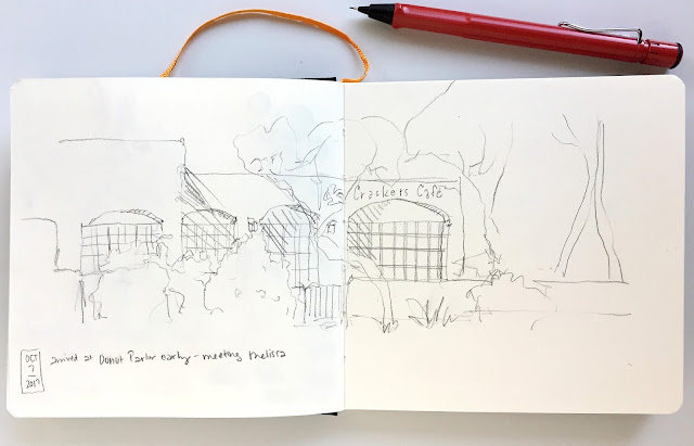 sketch made while waiting in the car in my new Handbook Travelogue sketchbook
