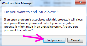 end process di windows 7