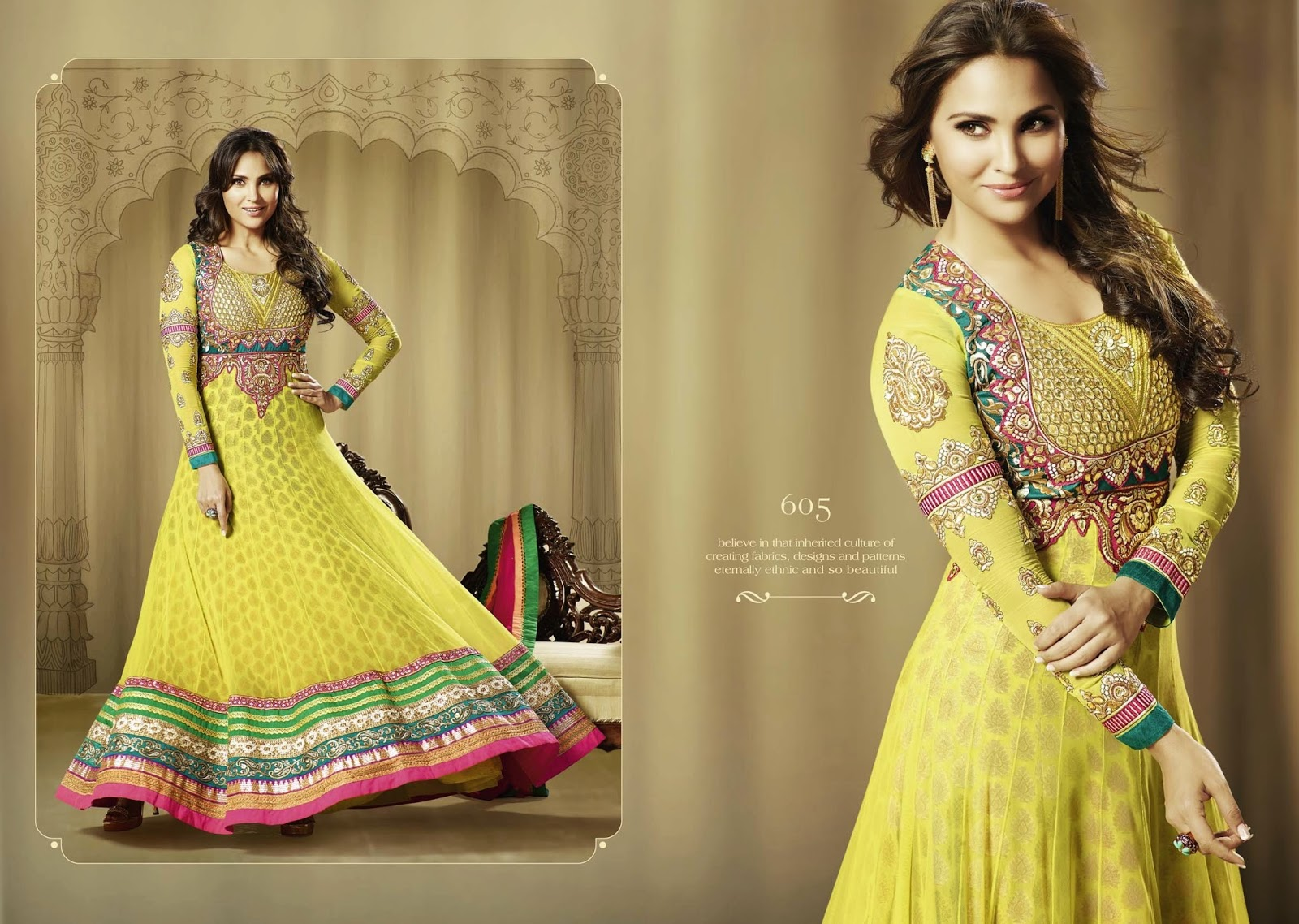 1f1258c653 Wholesaler Of Indian Ethnic Women Wear: Lara Dutta Stylish Embroidered Long Anarkali  Suit