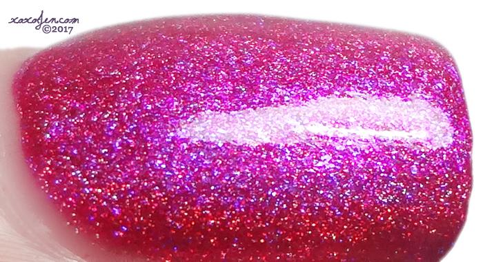 xoxoJen's swatch of upcake polish Hello Hibiscus