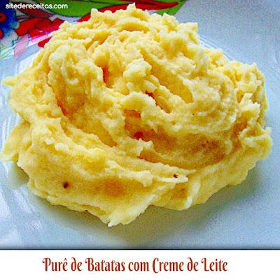 Purê de batatas com creme de leite