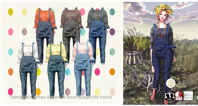{amiable}Cotton Blouse & Bow Salopette Pants 50%OFF SALE@N°21.