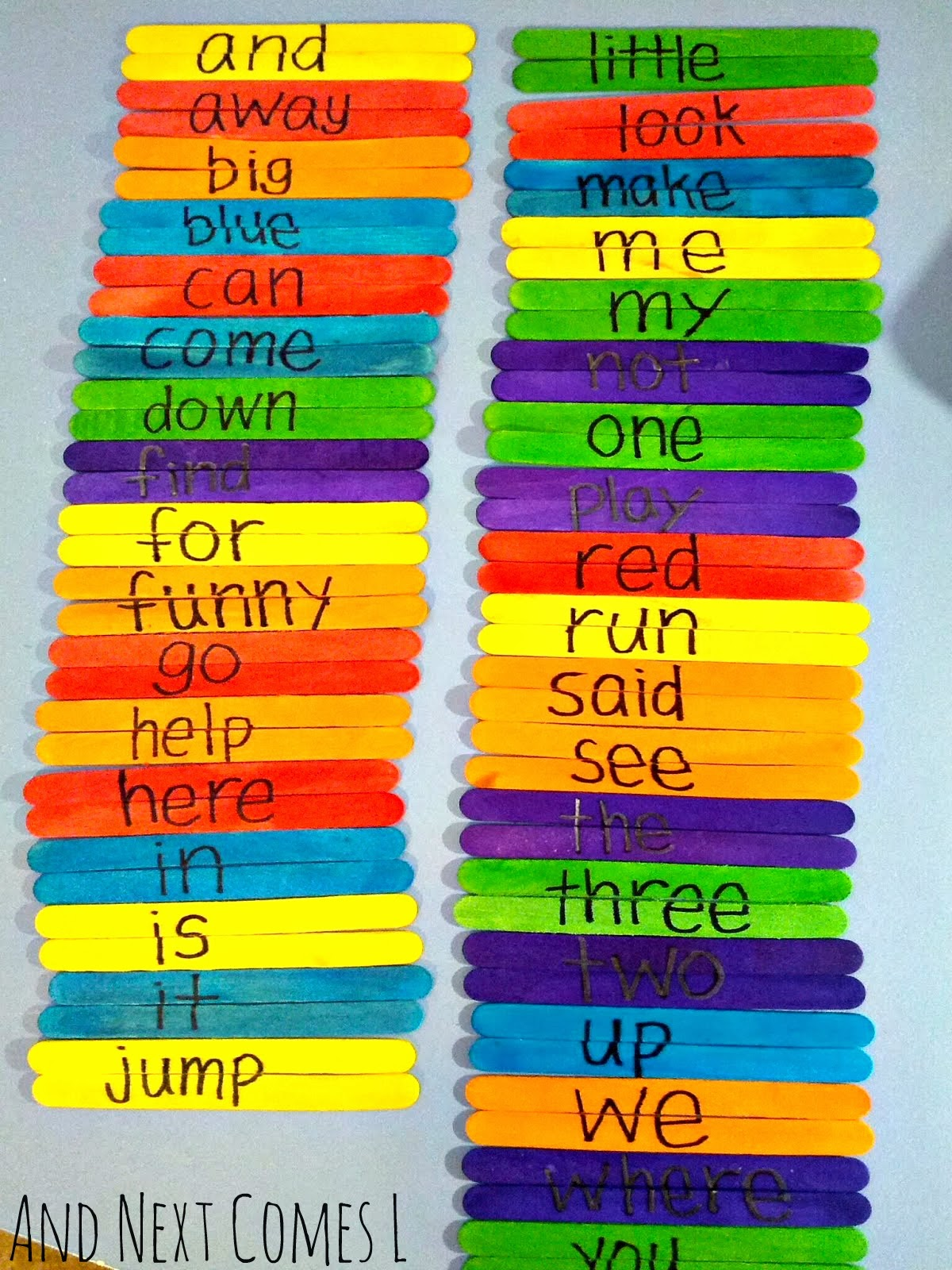Great busy bag idea for kids to practice sight words: make sight word puzzles from And Next Comes L