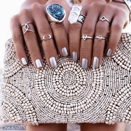 Boho Rings: Statement Ring, Quartz White Ring, Midi Rings