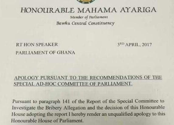 Mahama Ayariga's apology letter to Parliament