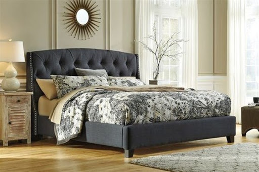 upholstered bed frame and headboard
