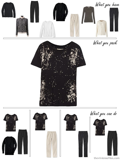 adding a print tee shirt to a black, white and beige travel capsule wardrobe