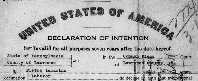 my grandfather's declaration of intention to become a U.S. citizen