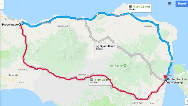 Ke Banyuwangi enak lewat jalur pantura atau jalur barat via jember