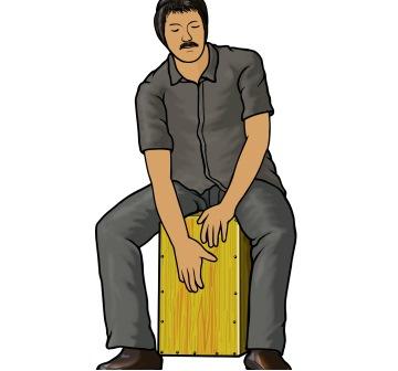 カホン(Cajón)を演奏する男性のイラスト