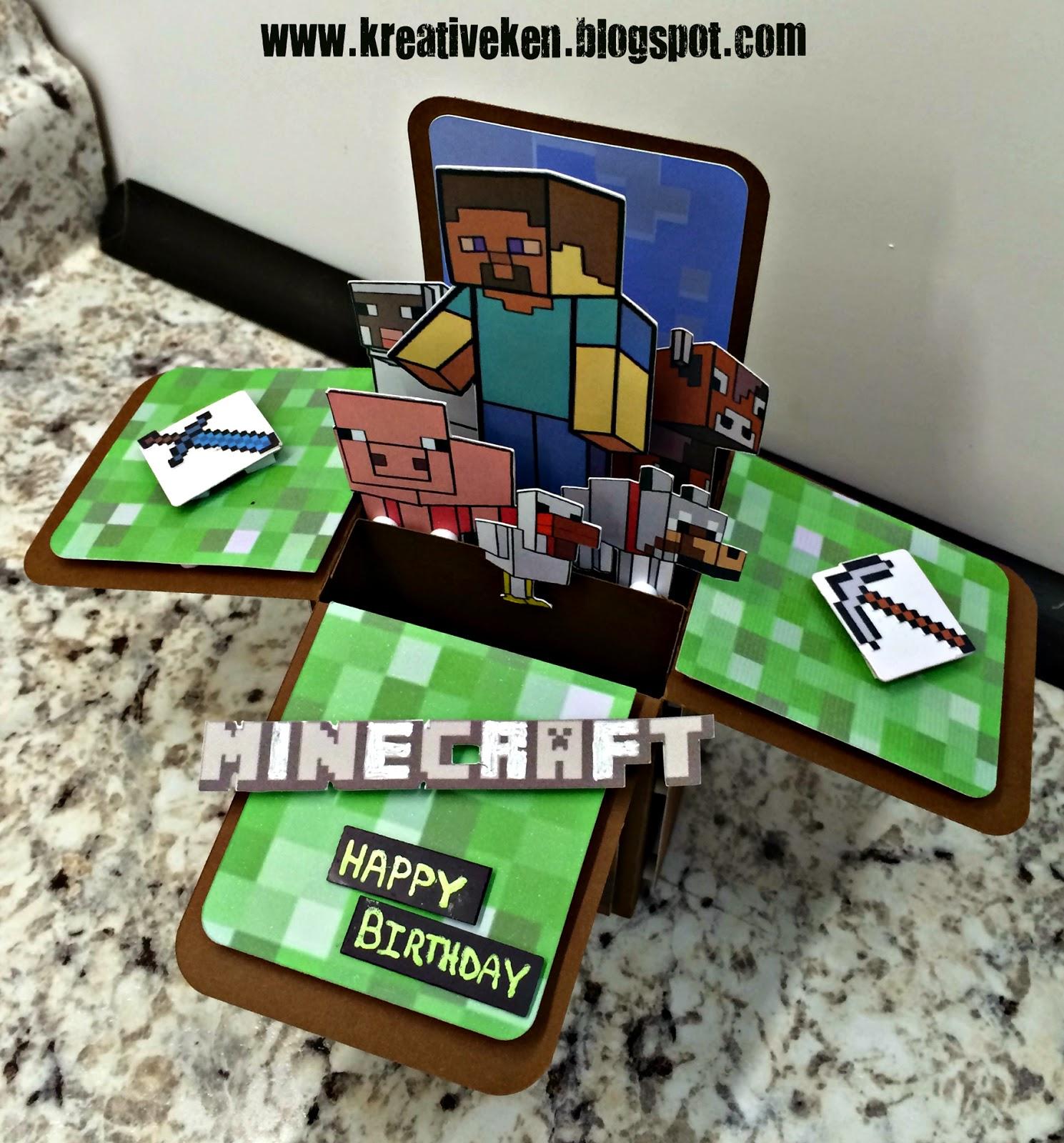 minecraft birthday card  ken's kreations, Birthday card