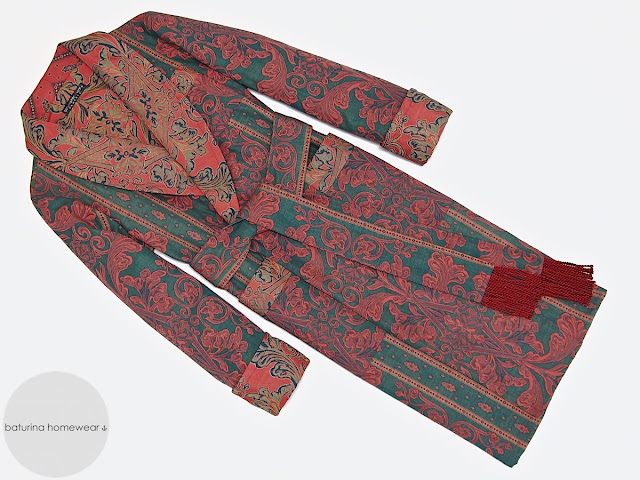 Men's cotton dressing gown paisley luxury robe